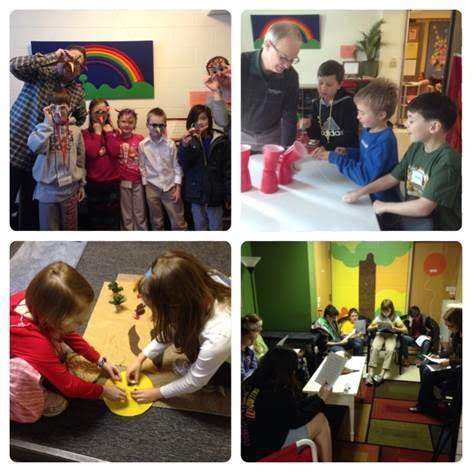 Four scenes of children enjoying Sunday Religious Education Classes