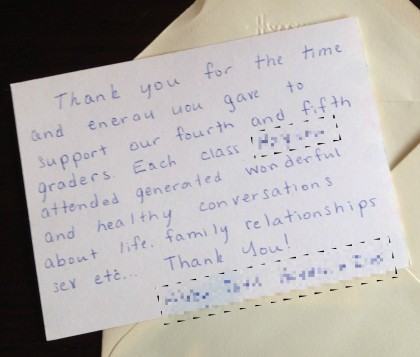 A thank you letter from a parent.