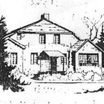 Drawing of farmhouse used for West Omaha Unitarian Sunday services and meetings