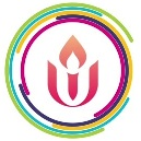 Unitarian Universalist chalice symbol surrounded by multi-colored partial circles