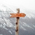 Mountain trail arrow, signifying the moral guidance of our UU principles.