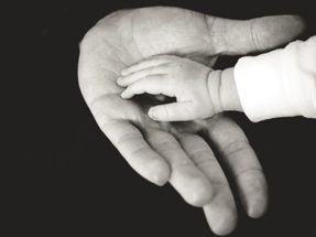 Small child's hand touching an adult's hand.
