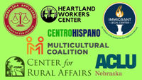 Logos of seven organizations joining together to provide raid relief.