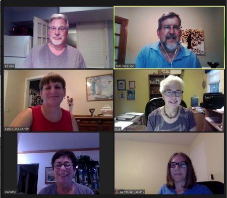 Board members meeting from home via Zoom