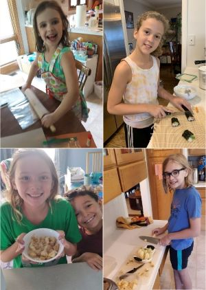Collage of children preparing meals using Books and Cooks mealkits