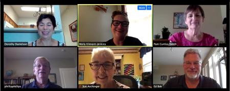 Board members meeting via Zoom.